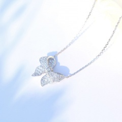 Copper Plated Silver Inlaid Cubic Zirconia Necklace S925 Silver Chain (Chain length 45cm) bowknot