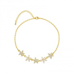Small flower five-pointed star inlaid with rhinestone adjustable bracelet (chain length 16+4cm) gold