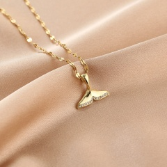 Cube Zirconia Stainless Steel Clavicle Gold Necklace Fish tail