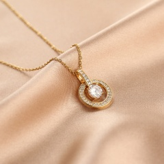 Geometric inlaid cubic zirconia pendant stainless steel clavicle necklace (chain length 40+5cm) round