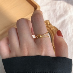 Simple Open Knotted Irregular Ring gold