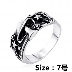 Mushroom star flower leaf embossed ring #7 silver