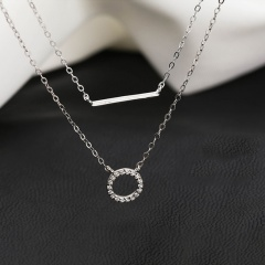 Ring Horizontally Long Cubic Zirconia Double-layer Copper Clavicle Necklace (chain length 45/55cm) platinum