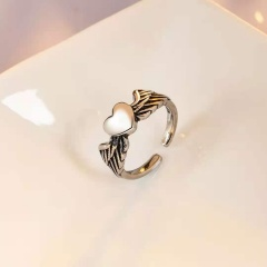 Love Angel Wings Vintage Glossy Open Ring silver