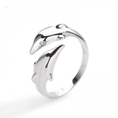 Double dolphin open ring silver
