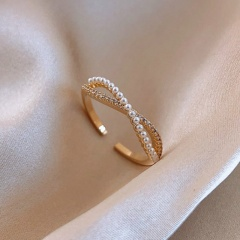 Figure 8 Geometric Imitation Pearl Cubic Zirconia Copper Plated Real Gold Open Ring gold