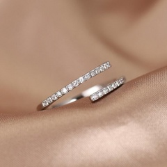Line Geometric Cube Zirconia Copper Silver Plated Open Ring silver