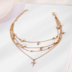 Four-layer cross love rhinestone chain anklet (Chain length: 19/21/23/25+5cm) gold