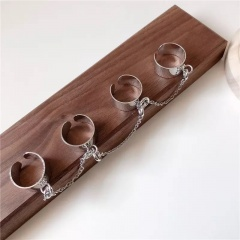 Four-finger conjoined chain metal geometric open ring silver