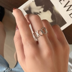 Silver polished geometric open copper ring A