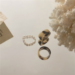 Pearl Beaded Combination Acetate Plate Ring Ring A 3pcs/set