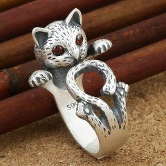 Vintage Cat Red Eyes Open Silver Plated Ring Ancient silver