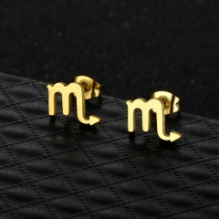 Twelve Constellation Symbols Stainless Steel Gold Necklace and Earring Set (chain length 45cm) Scorpio