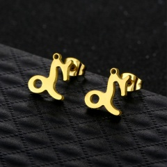 Twelve Constellation Symbols Stainless Steel Gold Necklace and Earring Set (chain length 45cm) Capricorn