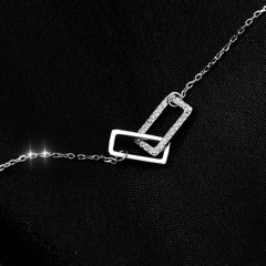 Double Square Cubic Zirconia Copper Clavicle Chain Necklace (Pendant size: 0.6/0.7*1.2cm, chain length: 40+5cm) platinum