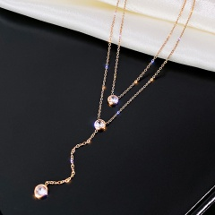 Double Rhinestone Titanium Steel Clavicle Chain Necklace rose gold