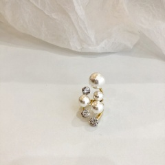 Irregular exaggerated rhinestone imitation pearl open ring gold