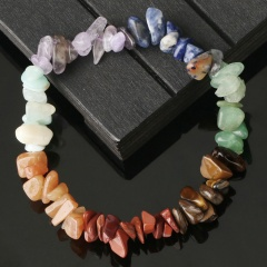 Colorful crushed stone seven chakra natural stone woven beaded bracelet (size 18cm) opp Colorful