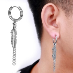 Feather Leaves Chain Stainless Steel Earring Claps Men's Earring Holes 1.7*4.5cm