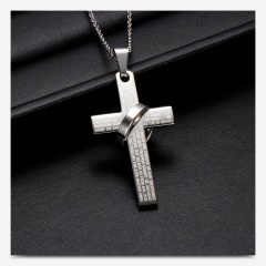 Ring Cross Scripture Stainless Steel Pendant Necklace (size 60cm) opp Steel color A