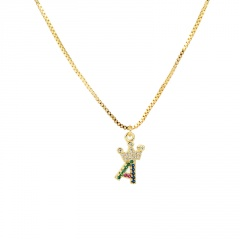 26 letter crown necklace with colored copper and rhinestone collarbone chain  length (size 45+5cm)  pendant  (size 1.5*1.1cm) opp #A