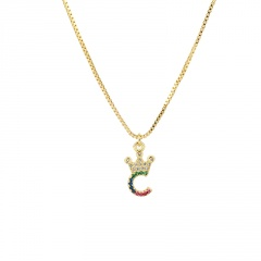 26 letter crown necklace with colored copper and rhinestone collarbone chain  length (size 45+5cm)  pendant  (size 1.5*1.1cm) opp #C