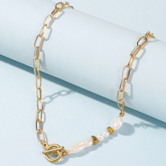 Chain Long Shaped Imitation Pearl Necklace (chain length 52cm) gold