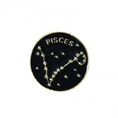 Enamel starry sky graphic twelve constellation small brooch Pisces