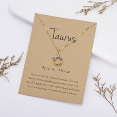 KC gold plated Colored rhinestone symbol version twelve constellation paper card necklace Taurus