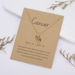 KC gold plated Colored rhinestone symbol version twelve constellation paper card necklace Cancer