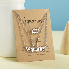 18KGP Starry sky symbol ancient english letter twelve constellation necklace 3pcs/set  (Chain length: 41+5cm, paper jam: 9*7.5cm) opp+card Aquarius