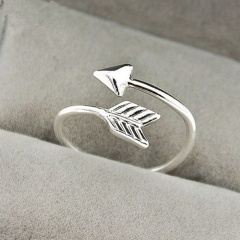 Triangle arrow feather double opening adjustable copper ring paltinum