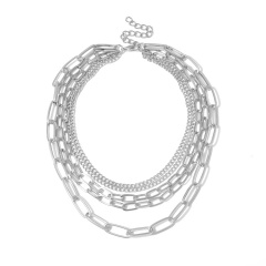 Simple multi-layer O-shaped chain necklace (chain length 33-40+5cm) silver