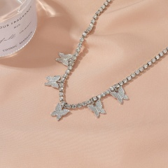 5 butterflies rhinestone anklets (Circumference: 29+6.8cm) 18KGP