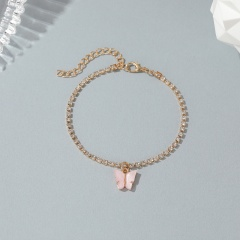 1 butterfly KC gold acrylic rhinestone anklet  (Circumference: 18+5.5cm) pink