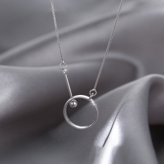 Copper Round ring round ball round bead chain clavicle necklace platinum