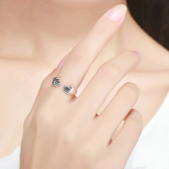 Identical hands love hug open ring silver