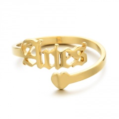 Golden Twelve Constellation Letters Love Heart Stainless Steel Ring Aries