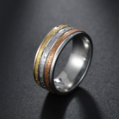 Three-color frosted couple titanium steel ring #7