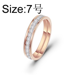 Single row square inlaid cubic zirconia titanium steel ringSquare inlaid cubic zirconia titanium steel ring #7 rose gold