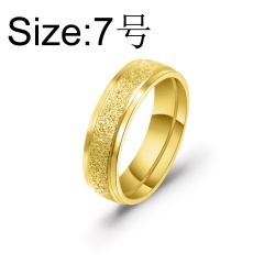 6mm wide stainless steel frosted ring #7 gold