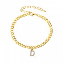 Inlaid rhinestone letter pendants anklet (Circumference: 18+5cm) D