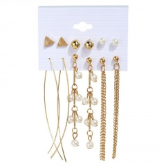 6 pairs of imitation pearl inlaid with rhinestone geometric combination stud earrings set (Earring size: 0.5-8.5cm) A