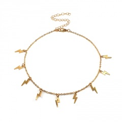 Lightning Pendant Clavicle Necklace (chain length 38+5cm) gold