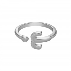 Symbol Edition Twelve Constellation Letter Silver Open Ring Aries