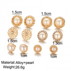 6pairs/set Flower imitation pearl and rhinestone combination earring set gold