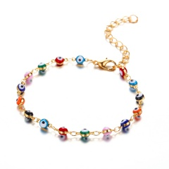 Color eye chain beach anklet (Circumference: 19+7cm) gold