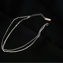 Double-layer disc chain beach copper anklet (Circumference: 21+5cm) platinum
