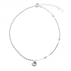 Luck ball and bead chain beach copper anklet (Circumference: 20+4cm) platinum