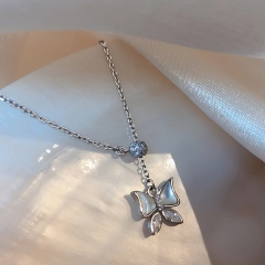Three Butterfly Stars Cubic Zirconia Tassel Long Adjustable Clavicle Chain Necklace (chain length 45cm) Butterfly shell